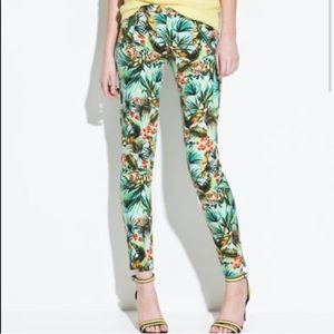 ZARA Parrot 🦜 Skinny Tropical 🌴 Pants XS 2